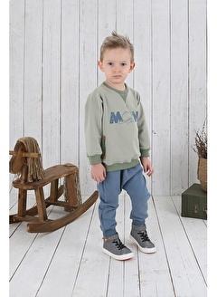 Nila Kids Gri Mavi Rengi Erkek Bebek Organik Fit Pantalon NK4004GM (3 AY - 5 YAş)